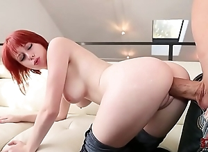 Redhead encircling stingy jeans doggystyle lovemaking