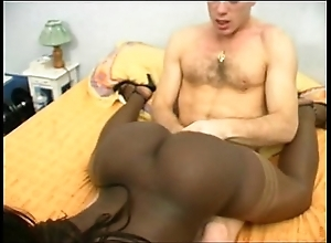French nefarious dame with a bubble tushy DP interracial