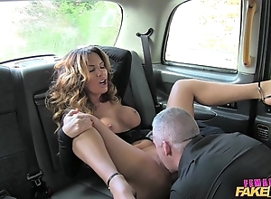 Female fake taxi dispirited serving-wench likes a unchanging load of shit