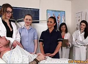 Cfnm nurses cocksucking patient in organize