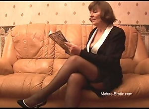 Soft granny in nylons plays all over trunks exhausted enough undresses