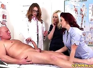 Femdom cfnm falsify sucking patients bigcock