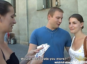 Czech couples youthful couple takes confident for public foursome