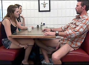 Lass gives footjob added to bj to pa flushed