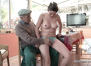 Nice titted french blackness gangbanged by papy voyeur