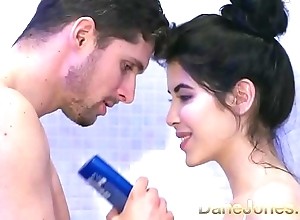 Dane jones legal age teenager gives dishevelled oral stimulation in shower with an increment of rides cowgirl forth high point